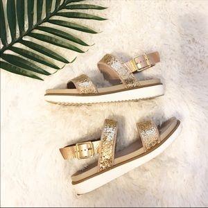 Aldo   Druella Gold Glitter Sandals 8